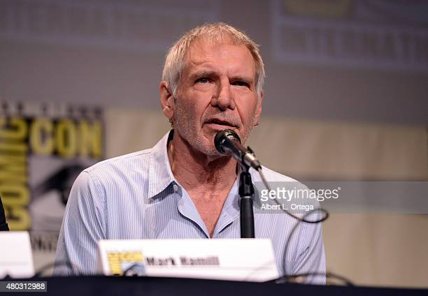 Actor Harrison Ford speaks onstage at the Lucasfilm panel during ComicCon International 2015 at the San Diego Convention Center on July 10 2015 in...