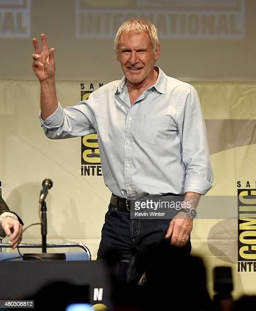 Actor Harrison Ford walks onstage at the Lucasfilm panel during ComicCon International 2015 at the San Diego Convention Center on July 10 2015 in San...