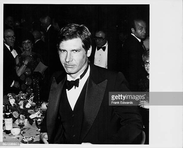Actor Harrison Ford wearing a tuxedo at the 35th Annual Directors Guild Awards dinner dance Beverly Wiltshire Hotel California March 1983