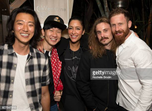 Actor Harry Chang singer JJ Lin Violet Camacho artists Shelby and Sandy Murphy attend the Haute Living Celebrates Kate Mara with Westime cover party...