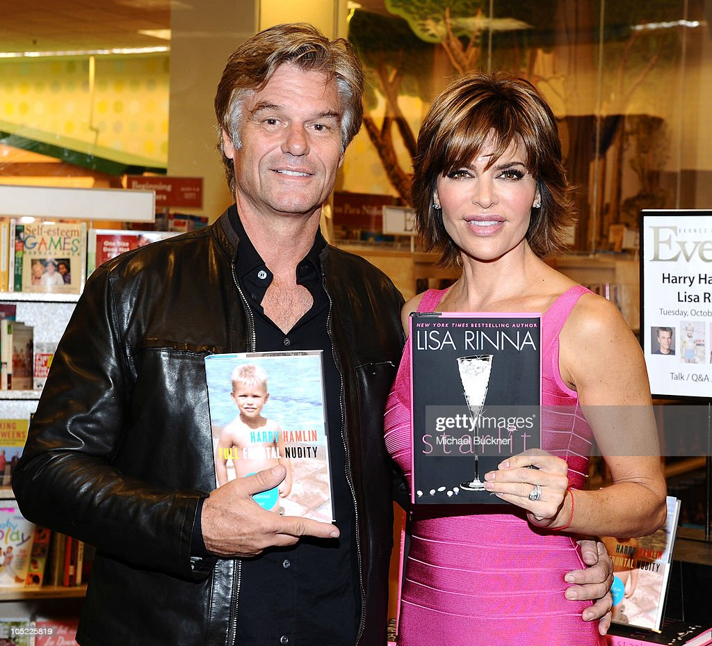 Actor <a gi-track='captionPersonalityLinkClicked' href=/galleries/search?phrase=Harry+Hamlin&family=editorial&specificpeople=211584 ng-click='$event.stopPropagation()'>Harry Hamlin</a> (L) and actress <a gi-track='captionPersonalityLinkClicked' href=/galleries/search?phrase=Lisa+Rinna&family=editorial&specificpeople=202100 ng-click='$event.stopPropagation()'>Lisa Rinna</a> arrive to a book signing at the Barnes & Noble at The Grove on October 12, 2010 in Los Angeles, California.