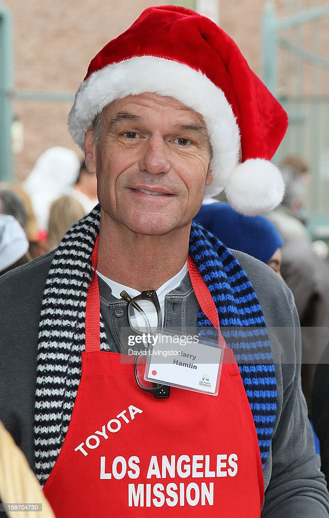 Actor Harry Hamlin attends the Los Angeles Mission's Christmas Eve for the homeless at the Los Angeles Mission on December 24, 2012 in Los Angeles, California.
