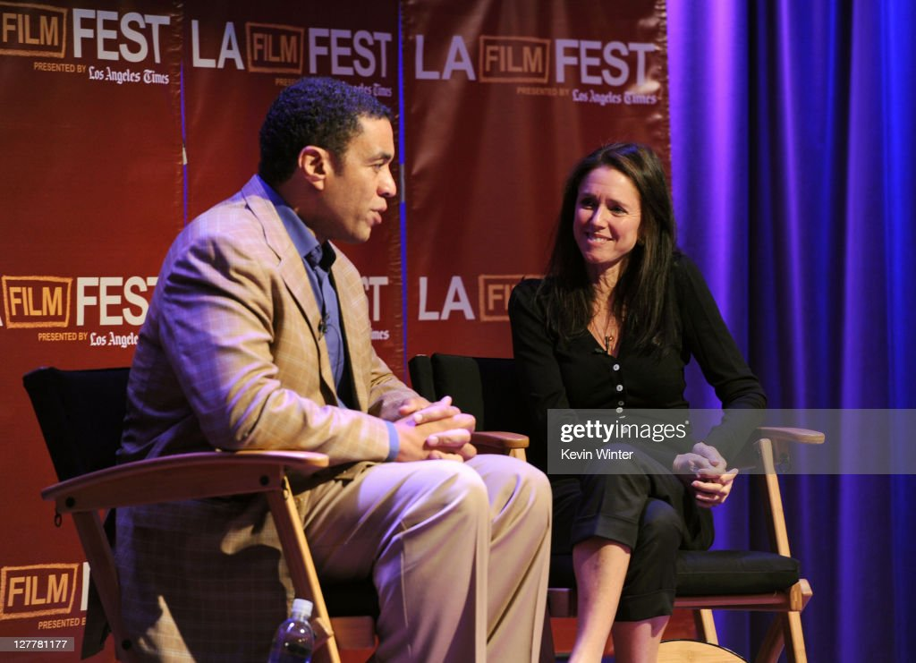 Actor Harry Lennix and director Julie Taymor speak onstage at The Art of Translation A Conversation with Julie Taymor during the 2011 Los Angeles...