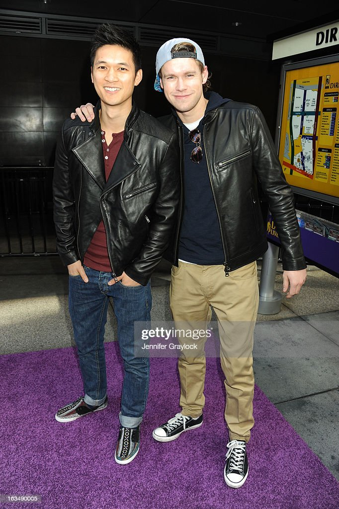 Actor Harry Shum Jr and Actor <a gi-track='captionPersonalityLinkClicked' href=/galleries/search?phrase=Chord+Overstreet&family=editorial&specificpeople=7126148 ng-click='$event.stopPropagation()'>Chord Overstreet</a> attends the Lakers Casino Night held at Club Nokia on March 10, 2013 in Los Angeles, California.