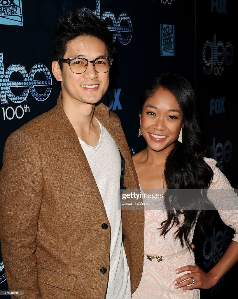 Actor Harry Shum, Jr. and actress Shelby Rabara attend the 'Glee' 100th episode celebration at Chateau Marmont on March 18, 2014 in Los Angeles, California.