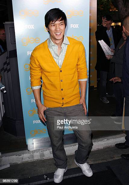 Actor Harry Shum Jr arrives at the 'GLEE' fountain show and outdoor screening of the spring premiere episode at The Grove on April 10 2010 in Los...