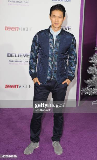 Actor Harry Shum Jr arrives at the Los Angeles Premiere 'Justin Bieber's Believe' at Regal Cinemas LA Live on December 18 2013 in Los Angeles...