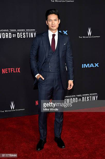 Actor Harry Shum Jr attends the premiere of Netflix's 'Crouching Tiger Hidden Dragon Sword Of Destiny' at AMC Universal City Walk on February 22 2016...