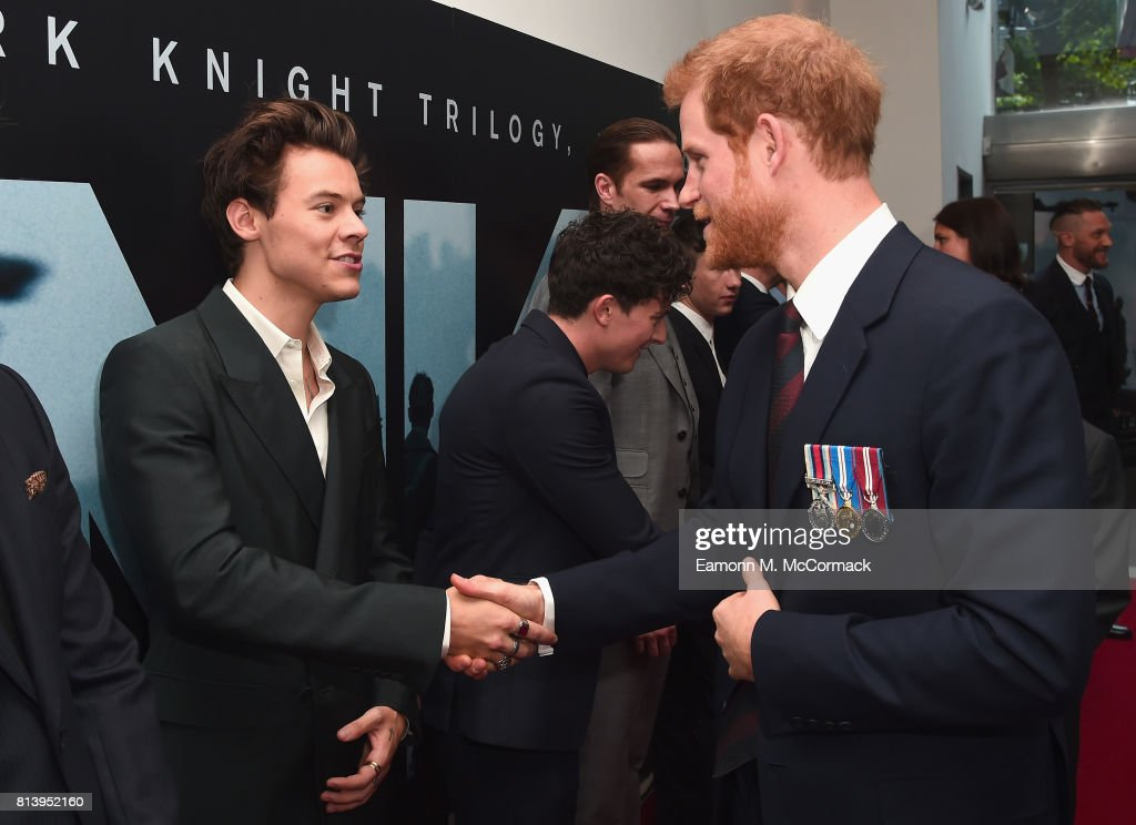Actor Harry Styles and Prince Harry attend the 'Dunkirk' World Premiere at Odeon Leicester Square on July 13, 2017 in London, England.