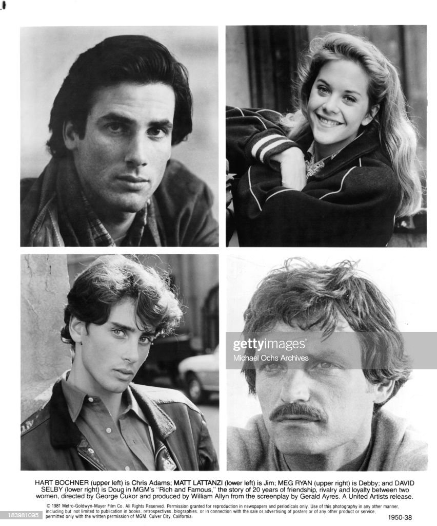 Actor Hart Bochner and actress Meg Ryan Actors Matt Lattanzi and David Selby on set of the MGM movie 'Rich and Famous' in 1981