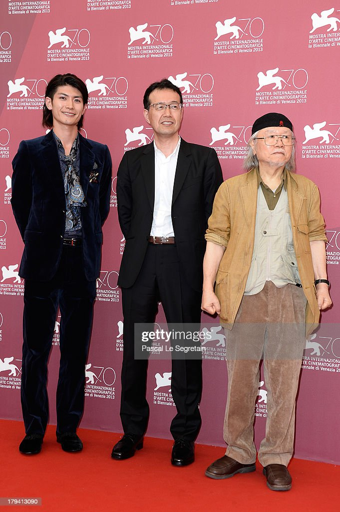 Actor <a gi-track='captionPersonalityLinkClicked' href=/galleries/search?phrase=Haruma+Miura&family=editorial&specificpeople=7470001 ng-click='$event.stopPropagation()'>Haruma Miura</a>, Director Shinji Aramaki and Japanese mangaka/author <a gi-track='captionPersonalityLinkClicked' href=/galleries/search?phrase=Leiji+Matsumoto&family=editorial&specificpeople=7857927 ng-click='$event.stopPropagation()'>Leiji Matsumoto</a> attends 'Harlock Space Pirate' Photocall at the 70th Venice International Film Festival at Palazzo del Casino on September 3, 2013 in Venice, Italy.