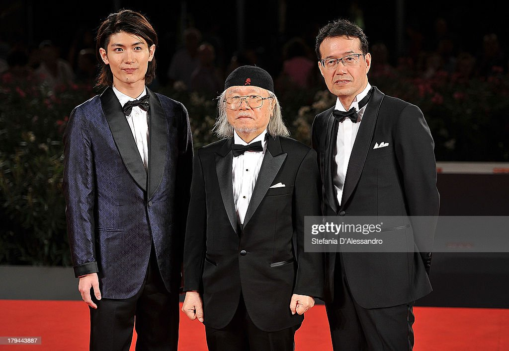 Actor <a gi-track='captionPersonalityLinkClicked' href=/galleries/search?phrase=Haruma+Miura&family=editorial&specificpeople=7470001 ng-click='$event.stopPropagation()'>Haruma Miura</a>, mangaka/author <a gi-track='captionPersonalityLinkClicked' href=/galleries/search?phrase=Leiji+Matsumoto&family=editorial&specificpeople=7857927 ng-click='$event.stopPropagation()'>Leiji Matsumoto</a>, and <a gi-track='captionPersonalityLinkClicked' href=/galleries/search?phrase=Shinji+Aramaki&family=editorial&specificpeople=2518280 ng-click='$event.stopPropagation()'>Shinji Aramaki</a> attend 'Harlock: Space Pirate' Premiere during the 70th Venice International Film Festival at Palazzo del Casino on September 3, 2013 in Venice, Italy