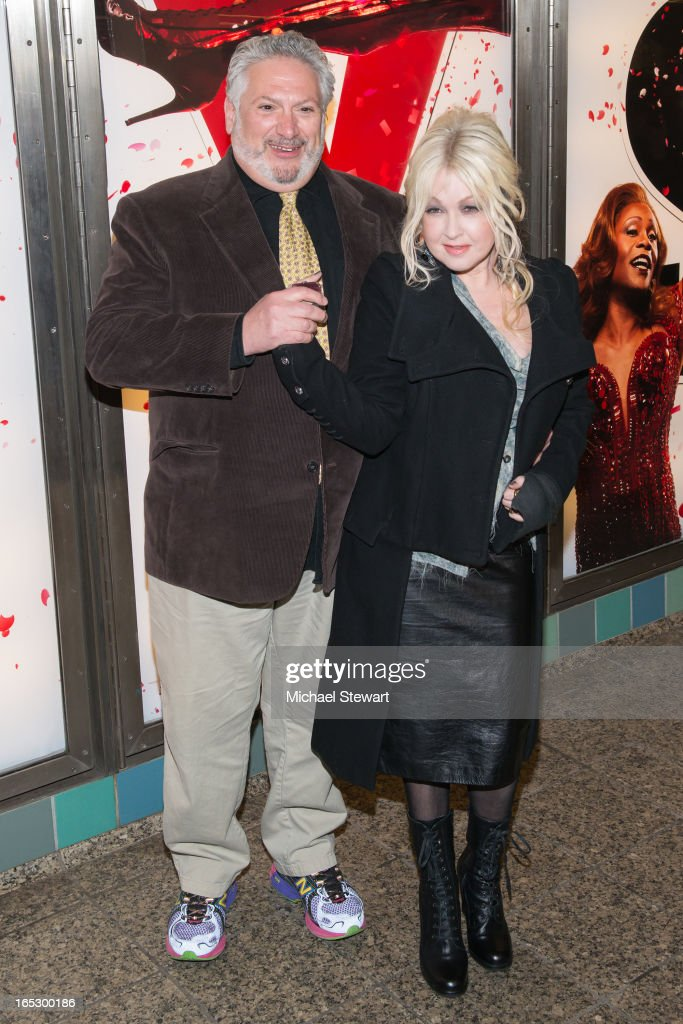 Actor Harvey Fierstein (L) and musician Cyndi Lauper attend Broadway's 'Kinky Boots' Everybody Say Yeah Ad Unveiling in Times Square on April 2, 2013 in New York City.