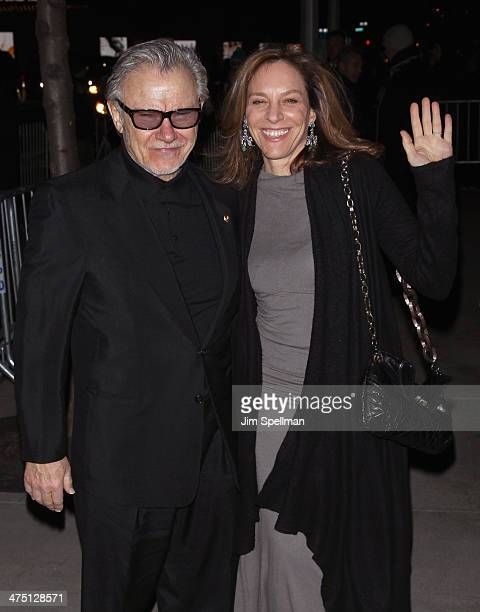 Actor Harvey Keitel and wife Daphna Kastner attend the 'The Grand Budapest Hotel' New York Premiere at Alice Tully Hall on February 26 2014 in New...