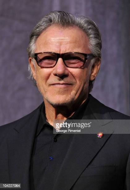 Actor Harvey Keitel stands onstage at 'A Beginner's Guide To Endings' Premiere introduction during the 35th Toronto International Film Festival at...