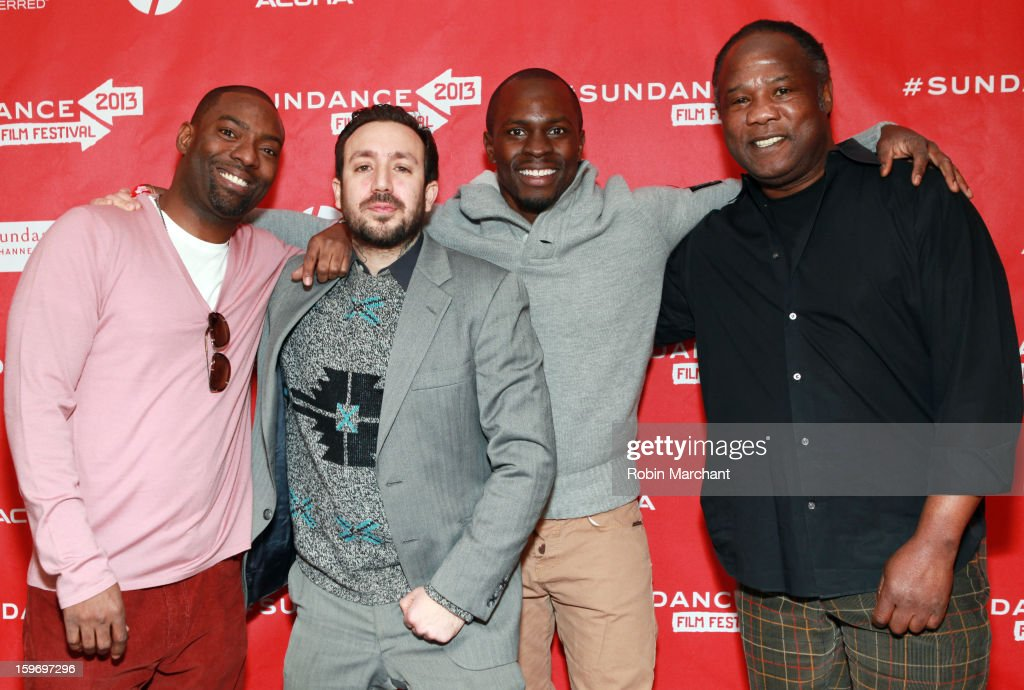 Actor Hassan Johnson, actor Tone Tank, producer <a gi-track='captionPersonalityLinkClicked' href=/galleries/search?phrase=Gbenga+Akinnagbe&family=editorial&specificpeople=2293588 ng-click='$event.stopPropagation()'>Gbenga Akinnagbe</a> and actor <a gi-track='captionPersonalityLinkClicked' href=/galleries/search?phrase=Isiah+Whitlock+Jr.&family=editorial&specificpeople=657646 ng-click='$event.stopPropagation()'>Isiah Whitlock Jr.</a> attend the 'Newlyweeds' Premiere at Prospector Square on January 18, 2013 in Park City, Utah.