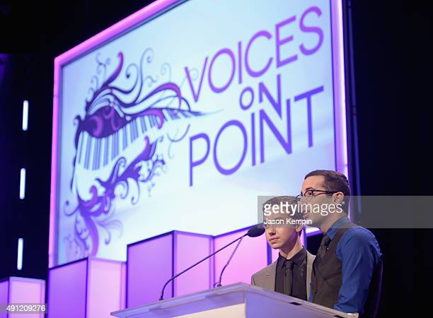 Actor Hayden Byerly and Point Scholar Brett Bruhanski speak onstage during the Point Foundation's Annual Voices On Point Gala at the Hyatt Regency...