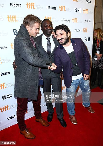 Actor Hayden Christensen actor/recording artist Akon and Director/producer Sarik Andreasyan shake hands as they attend the 'American Heist' premiere...