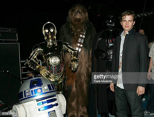 Actor Hayden Christensen is seen backstage with Star Wars characters at the 18th Annual Kids Choice Awards at UCLA's Pauley Pavillion on April 2 2005...