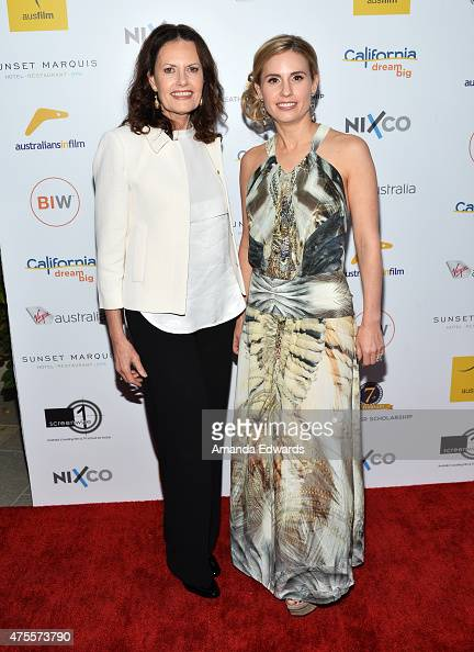 Actor Heath Ledger's mother Sally Bell and sister Kate Ledger arrive at the Australians in Film Heath Ledger Scholarship announcement dinner at the...