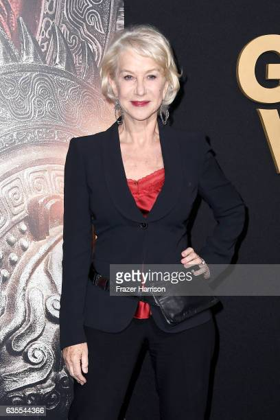 Actor Helen Mirren attends the premiere of Universal Pictures' 'The Great Wall' at TCL Chinese Theatre IMAX on February 15 2017 in Hollywood...