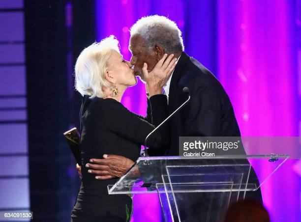 Actor Helen Mirren presents the Career Achievement Award to actor Morgan Freeman at the 16th Annual AARP The Magazine's Movies For Grownups Awards at...