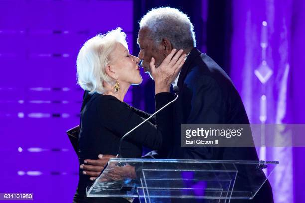 Actor Helen Mirren presents the Career Achievement Award to actor Morgan Freeman at the 16th Annual Movies For Growups Awards at the Beverly Wilshire...