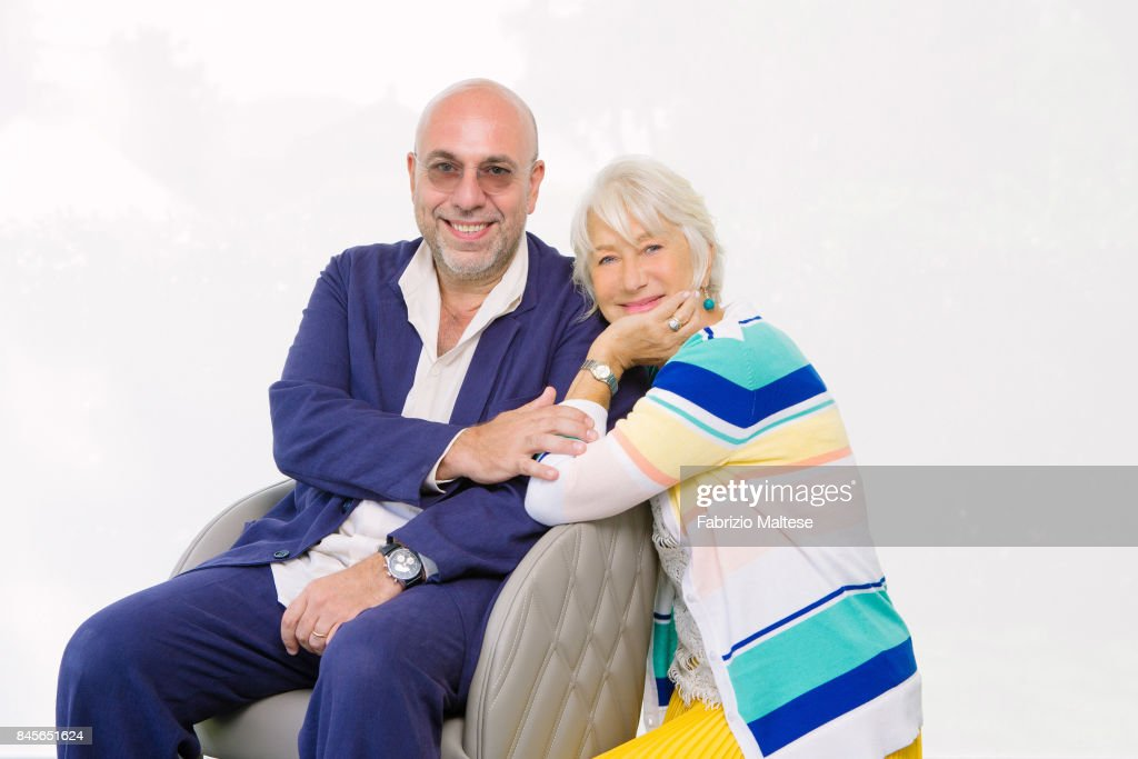 Actor Helen Mirren with film director Paolo Virzi are photographed on September 4, 2017 in Venice, Italy.