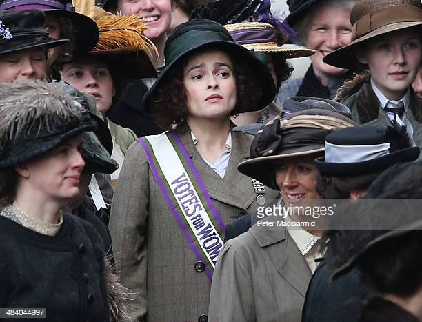 Actor Helena Bonham Carter takes part in filming of the movie Suffragette at Parliament on April 11 2014 in London England This is the first time...