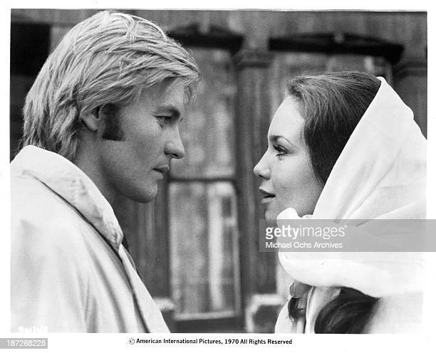 Actor Helmut Berger and actress Marie Liljedahl on set of the movie 'Dorian Gray' in 1970