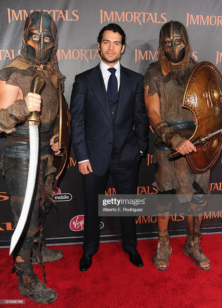 Actor <a gi-track='captionPersonalityLinkClicked' href=/galleries/search?phrase=Henry+Cavill&family=editorial&specificpeople=3767741 ng-click='$event.stopPropagation()'>Henry Cavill</a> arrives at Relativity Media's 'Immortals' premiere presented in RealD 3 at Nokia Theatre L.A. Live at Nokia Theatre L.A. Live on November 7, 2011 in Los Angeles, California.