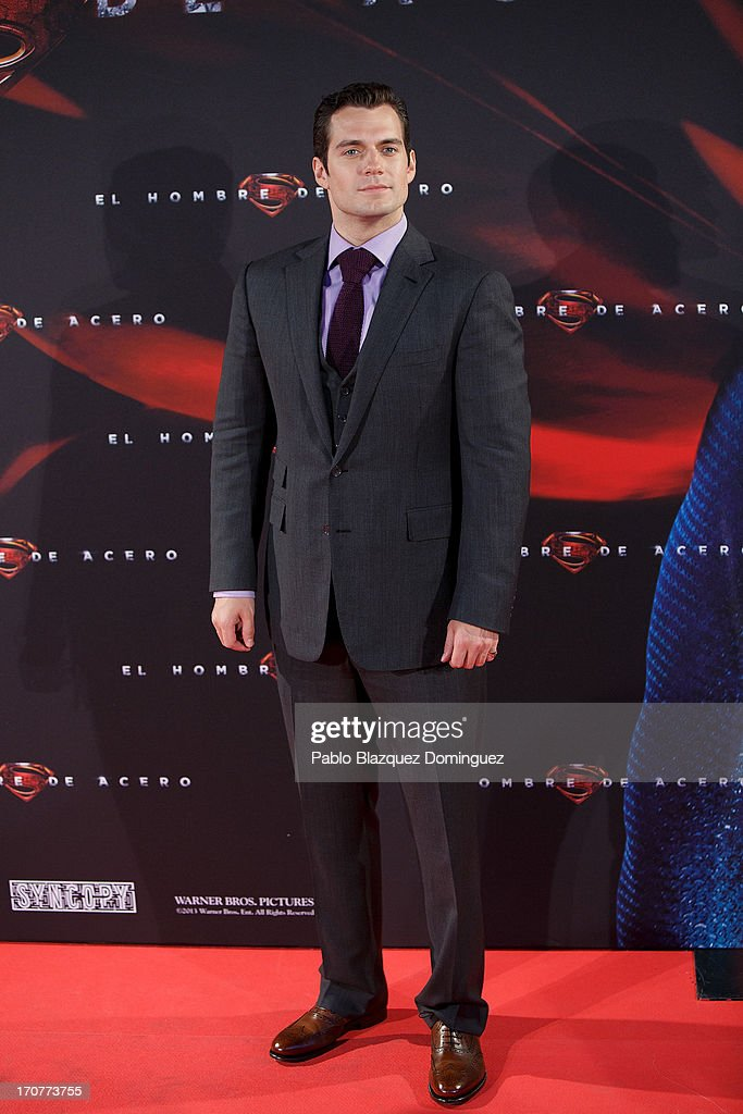 Actor Henry Cavill attends the 'Man of Steel' (El Hombre de Acero) premiere at the Capitol cinema on June 17, 2013 in Madrid, Spain.