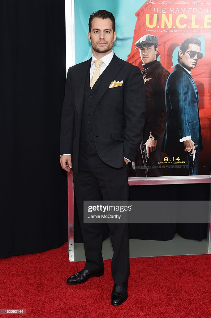 Actor <a gi-track='captionPersonalityLinkClicked' href=/galleries/search?phrase=Henry+Cavill&family=editorial&specificpeople=3767741 ng-click='$event.stopPropagation()'>Henry Cavill</a> attends the New York Premiere of 'The Man From U.N.C.L.E.' at Ziegfeld Theater on August 10, 2015 in New York City.