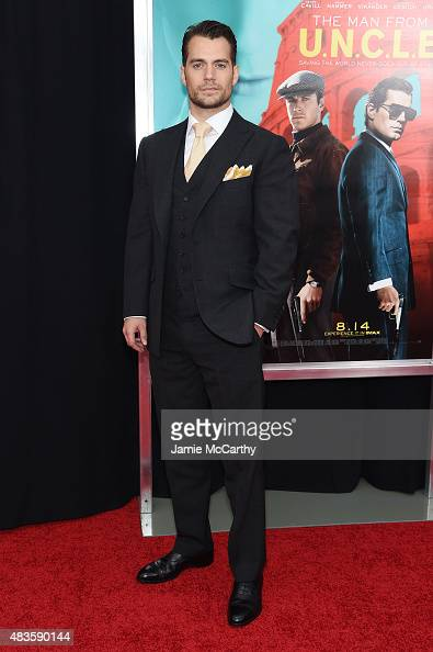Actor Henry Cavill attends the New York Premiere of 'The Man From UNCLE' at Ziegfeld Theater on August 10 2015 in New York City