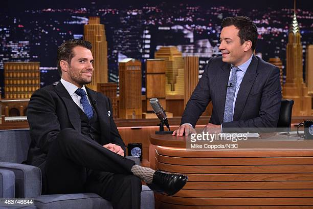 Actor Henry Cavill is interviewed by Jimmy Fallon at 'The Tonight Show Starring Jimmy Fallon' at Rockefeller Center on August 12 2015 in New York City