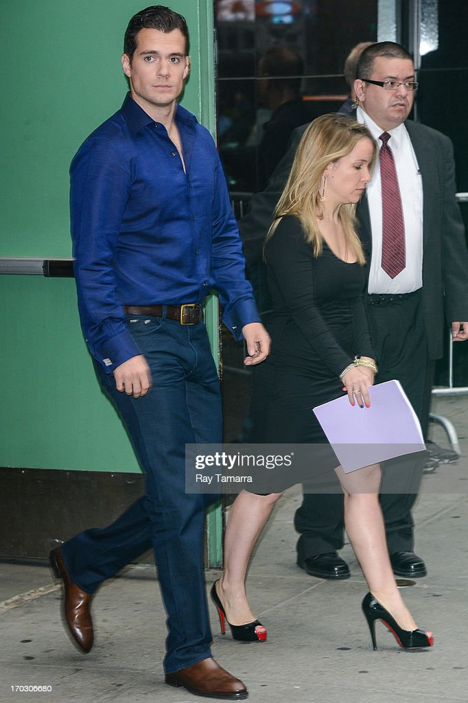 Actor <a gi-track='captionPersonalityLinkClicked' href=/galleries/search?phrase=Henry+Cavill&family=editorial&specificpeople=3767741 ng-click='$event.stopPropagation()'>Henry Cavill</a> leaves the 'Good Morning America' taping at the ABC Times Square Studios on June 10, 2013 in New York City.