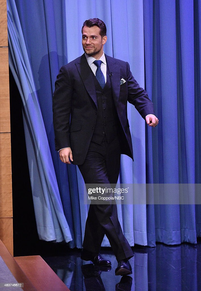 Actor <a gi-track='captionPersonalityLinkClicked' href=/galleries/search?phrase=Henry+Cavill&family=editorial&specificpeople=3767741 ng-click='$event.stopPropagation()'>Henry Cavill</a> visits 'The Tonight Show Starring Jimmy Fallon' at Rockefeller Center on August 12, 2015 in New York City.