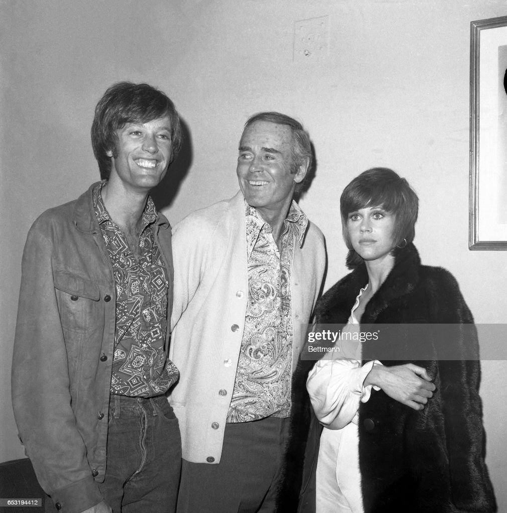 "Actor Henry Fonda (center), currently starring in a revival of ""Our Town,"" meets with son Peter (left) and daughter Jane after they attended a recent performance of his play at the ANTA Theaters on Broadway. The two younger Fondas have also starred on stage and screen. It was the first meeting in months for the talented trio."