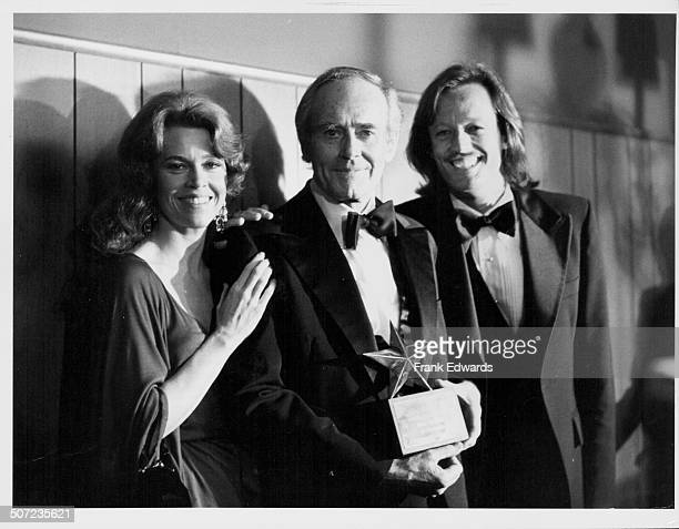 Actor Henry Fonda with his children actors Jane and Peter attending a tribute to Henry by the American Film Institute at the Beverly Hilton Hotel...