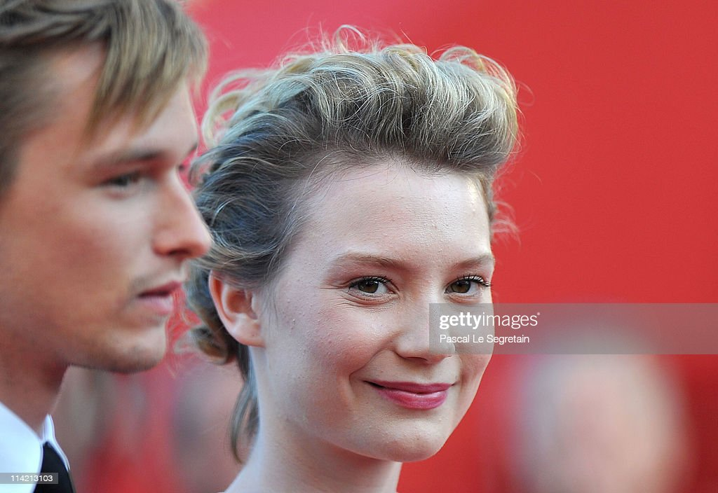 Actor Henry Hopper (L) and actress Mia Wasikowska attend 'The Tree Of Life' premiere during the 64th Annual Cannes Film Festival at Palais des Festivals on May 16, 2011 in Cannes, France.
