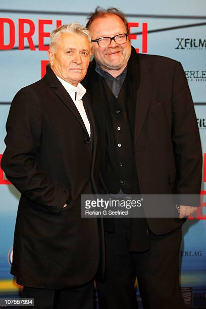 Actor Henry Huebchen and producer Stefan Arndt attend the premiere of 'Drei' at Delphi on December 13 2010 in Berlin Germany
