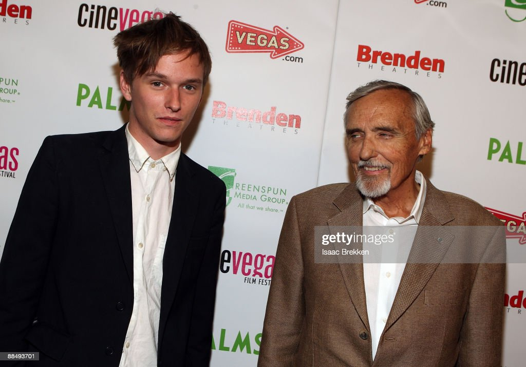 Actor Henry Lee Hopper (L) and actor and chair of the CineVegas creative advisory board Dennis Hopper arrive at the 'World's Greatest Dad' red carpet during the 11th annual CineVegas film festival held at the Brenden Theatres inside the Palms Casino Resort inside the Palms Casino Resort on June 14, 2009 in Las Vegas, Nevada.