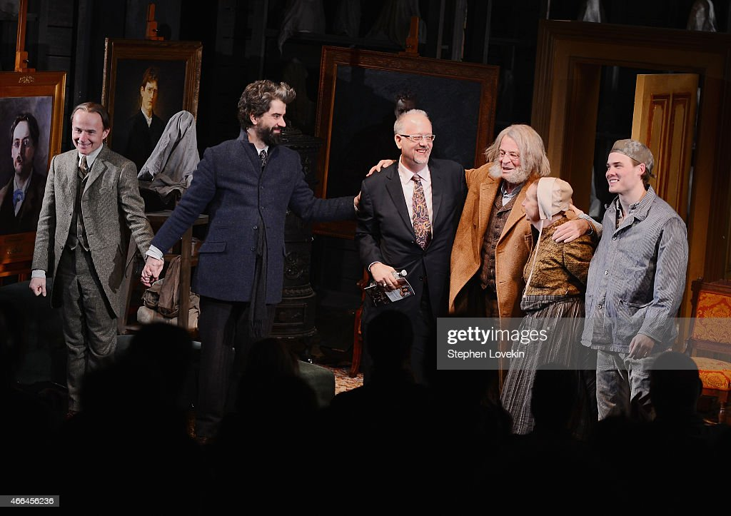 Actor Henry Stram, actor <a gi-track='captionPersonalityLinkClicked' href=/galleries/search?phrase=Hamish+Linklater&family=editorial&specificpeople=646154 ng-click='$event.stopPropagation()'>Hamish Linklater</a>, playwright <a gi-track='captionPersonalityLinkClicked' href=/galleries/search?phrase=Doug+Wright&family=editorial&specificpeople=234698 ng-click='$event.stopPropagation()'>Doug Wright</a>, actor <a gi-track='captionPersonalityLinkClicked' href=/galleries/search?phrase=John+Noble&family=editorial&specificpeople=1866932 ng-click='$event.stopPropagation()'>John Noble</a>,actress Dale Soules, and actor Mickey Theis attend the curtain call for the opening night of 'Posterity' at The Linda Gross Theater on March 15, 2015 in New York City.