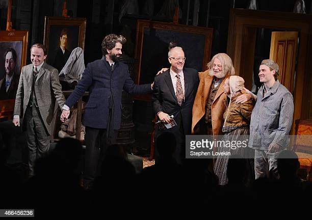 Actor Henry Stram actor Hamish Linklater playwright Doug Wright actor John Nobleactress Dale Soules and actor Mickey Theis attend the curtain call...