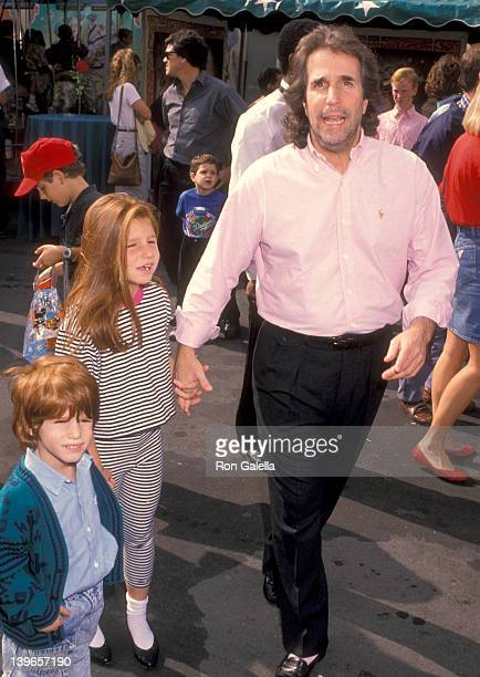 Actor Henry Winkler and kids Max Winkler and Zoe Winkler attend the 'Oliver and Company' Burbank Premiere on November 6 1988 at Walt Disney Studios...