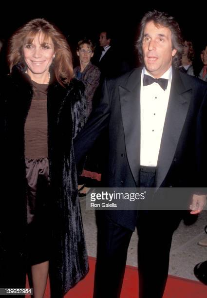 Actor Henry Winkler and wife Stacey Weitzman attend the 'Family Business' Century City Premiere on December 13 1989 at Cineplex Odeon Century Plaza...