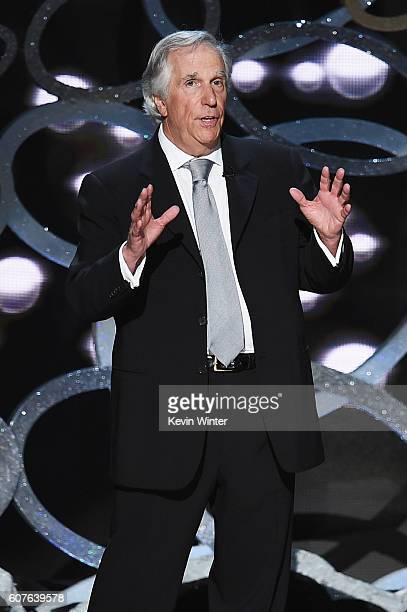 Actor Henry Winkler speaks onstage during the 68th Annual Primetime Emmy Awards at Microsoft Theater on September 18 2016 in Los Angeles California