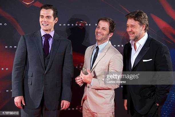 Actor Herny Cavill director Zack Snyder and Rusell Crowe attend the 'Man of Steel' premiere at the Capitol cinema on June 17 2013 in Madrid Spain