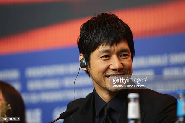 Actor Hidetoshi Nishijima attends the 'While the Women Are Sleeping' press conference during the 66th Berlinale International Film Festival Berlin at...