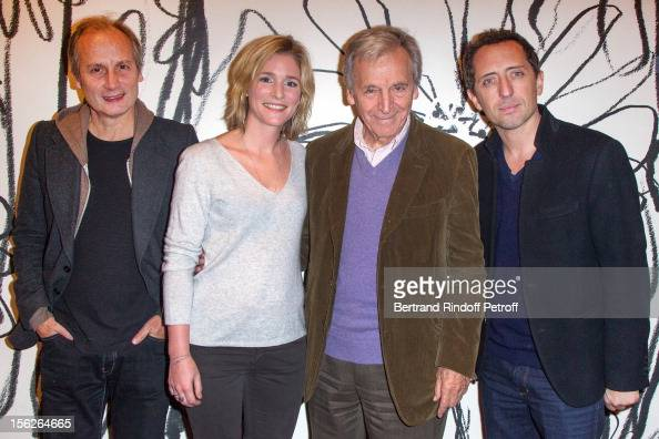 Actor Hippolyte Girardot actress Natacha Regnier Greekborn filmmaker CostaGavras and actor Gad Elmaleh pose as they attend 'Le Capital' premiere at...